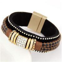 Metal joker trend crystal cortex magnet bracelet#09052654