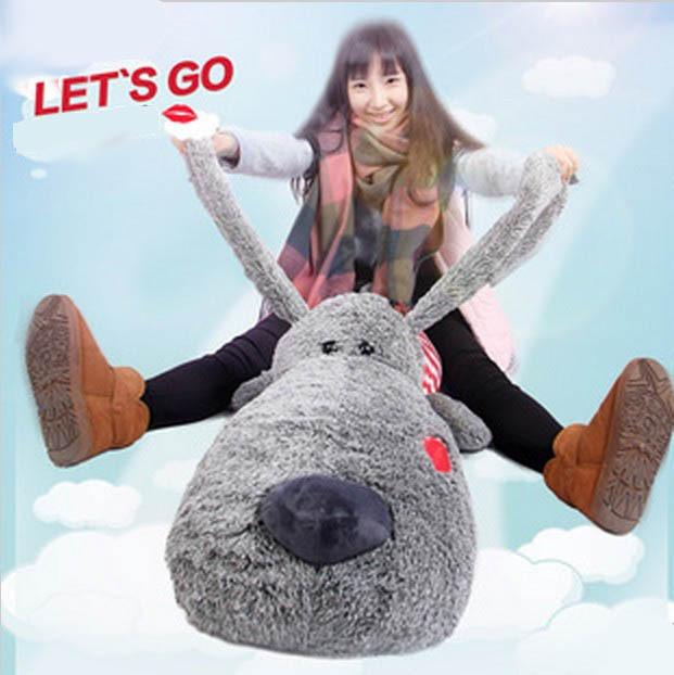 Giant 34'' 88 cm Light Gray Lies Prone Dog Stuffed Plush Animal Toy Best Valentine Gift(China (Mainland))