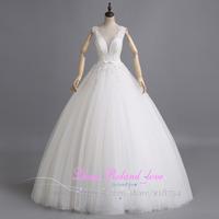Sexy Cheap V-neck Wedding Dress Made In China Custom Made Beading Bridal Gowns Ball Gown 2015 Vestido De Novia Stock Size 2 -12