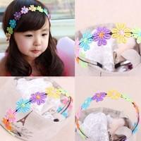 1 X Hot Cute Children Baby Giris Hair Band Girl Colorful Sunflower Lace Flowers Headband