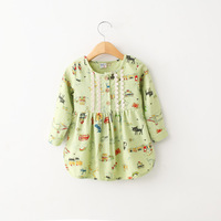 Country Style children's clothing 2015 new spring girls child cartoon long-sleeve shirt kids baby signature cotton tops blouse
