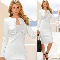 Women Fake Two-Pieces Dress High Waist Pencil Dress OL Slim Long Dress Bandage Bodycon Dress Plus Size XXL