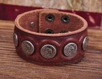 G112 Brown Designer Metal Skull StudsRetro Leather Mens Wristband Bracelet Cuff