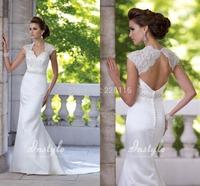 Elegant White Lace Round Backless Wedding Dresses Cap Sleeves and Beading Belt Mermaid Satin Court Train Bride Gowns Ruffle_BRID
