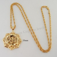 "Min order 10$ Can mix design/18K YELLOW GOLD GP PLATED OVERLAY 24"" ROPE NECKLACE&MUSLIM ALLAH GOD PENDANT EP STAR SHAPED"
