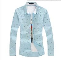 Mens Shirt 2015 Camisa Masculina Casual-shirt Big Yard Men Shirts 5XL 4XL 3XL 2XL XL L M Cotton Fashion Feather Print Shirts