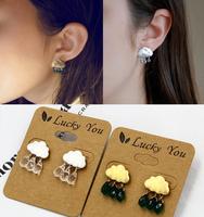 ZH1030 Hot Fashion cute crystal cloud rain drop earrings for women party jewelry