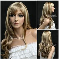 Head Bang Hair Ponytail Weaving Blonde Thud Kanekalon Europe Women Wig Golden Mix Color Mixed Girls Lady Woman Hairpiece W3295