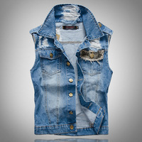 Men's casual camouflage patch design denim vest Male fashion slim holes ripped coat Free shipping
