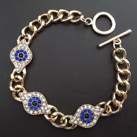 Hot Sale Fashion Jewelry Alloy Evil Eye Bracelet with Blue Eyes