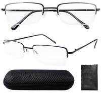 Half Rim Spring Hinges Rectangle Reading Glasses Including Case R1511 +1.00