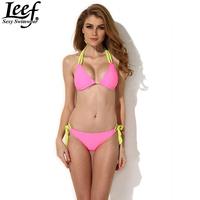 Bandeau Swimwear Women Sexy Bikini with Double Straps Push Up Swimsuit Solid Pink Bikinis Set Beachwear Bathing Suit Wholesale
