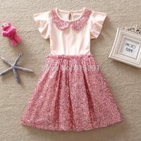 girls dresses lovely quality dress summer 2015 kids clothes pink sequins collar cotton vestido de formatura 5pcs/lot wholesale