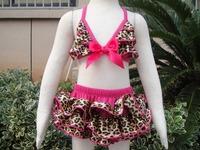 2015 Summer Toddler Kids Leopard Bikini Swimwear Two Pieces Age 2-5 Year