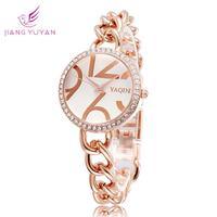 2015 Fashion Bracelet Watch Women Casual Rhinestone Watch Quartz Rose Gold Luxury Dress Wristwatches