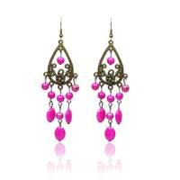 2015 New Rhinestones Color Stone Drop Earrings Alloy Resin Pellets Dangle Ethnic Jewelry Earrings For Women Free Shipping