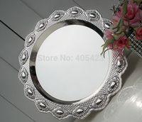 1pcs wedding home restaurant Metal silver cake pan snack plate cupcake tray