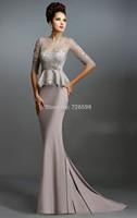 HYL New Noble Gray Chiffon Half Sleeve Formal Evening Dresses Sheath Beading Lace Floor Length Prom Dresses Custom Size