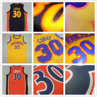 Stephen Curry Throwback Jerseys, Stitched San Francisco #30 Stephen Curry Blue Orange Yellow Throwback Retro Basketball Jerseys