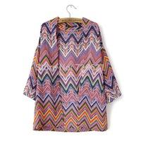 Wholesale New Fashion Women's Vintage Striped Print kimono Stylish Long Sleeve Design Cardigan Blouse Blouses