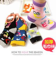 [Letter] Kids socks Child boneless 100% cotton autumn and winter socks thickening cartoon napped loop pile socks