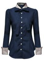 2015 spring summer shirt female doll collar long-sleeved shirt stitching tidal Slim Women shirt OL career blouse shirt