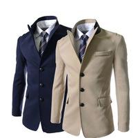 Fashion casual 2015 Men's Neckline stitching Solid color Slim suit coat Business Casual Men cotton blazer 2 colors