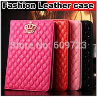 Hot Rhinestone Crown Rhombus Plaid Flip stand Leather cover Case For ipad Air ipad 2 3 4 5 Air mini 1 2 3,Free shipping