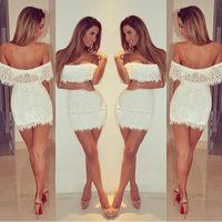 4404 hot sexy strapless nightclub Slim was thin women openwork lace dress with Neri