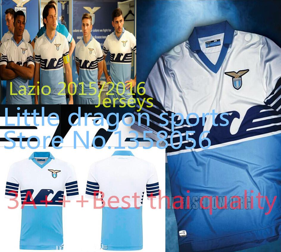 Free Shipping Lazio 2015/2016 Soccer Jerseys 3A+++ Best thai quality Klose Mauri Can the Custom name latest font Lazio Jerseys(China (Mainland))