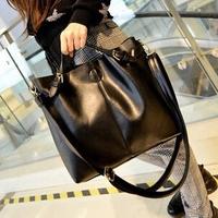 Simple new female bag big fashion lash bucket PU leather handbags shoulder aslant bag with small bag