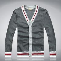 2014 V-neck fashion sweater male cardigan male fashion sweater modern male 100% cotton sweater