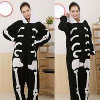 Fashion Adult Human Skeleton Sleepwear Cosplay Costumes Coral Fleece Animal Pyjamas S M L XL Free Shipping