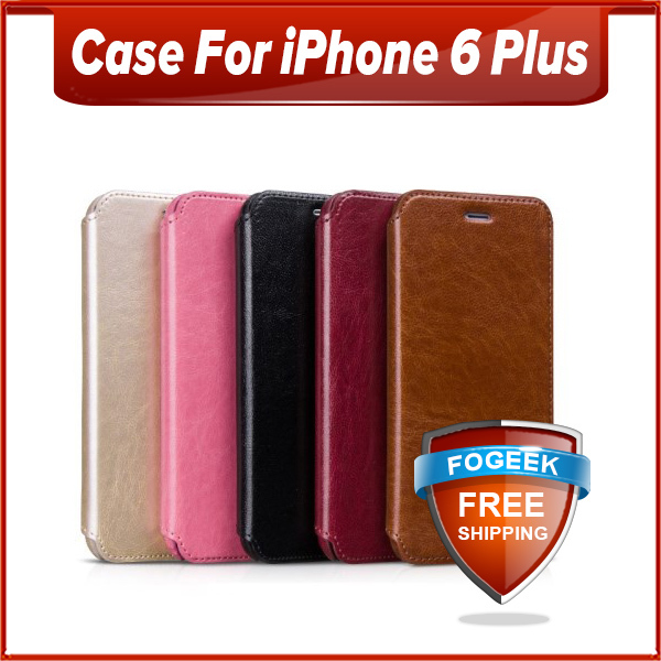 Free Shipping Horizontal Flip HOCO Crystal Series Stand Leather Case for iPhone 6 Plus(China (Mainland))