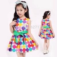 Free shipping 2015 summer 1pc baby girls dancing clothing princess children tutu kids dress circle dot dress vestidos de menina