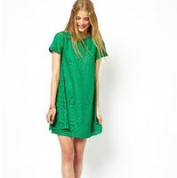 Euro Style Womens Summer Dress 2015 Women Clothing Spring Ladies Plus Size Short Sleeve Lace Dresses Vestidos Femininos