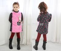 2014 New winter children's clothing suit girl child autumn children thickening fleece sweater child clothes set