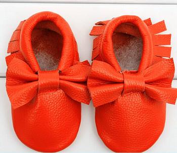 Новый ребенок мокасины мягкие Moccs детская с бантом обувь новорожденных детские firstwalker против скольжения из натуральной телячья кожа детская обувь обувь