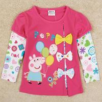 Peppa pig girl t shirt Nova brand spring autumn new fashion bow girls shirts with long sleeve F5293Y