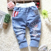 Free shipping 2015 new children's jeans wholesale boy two personality palm print fine pants BW190