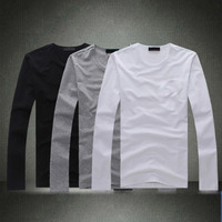 Brand Design print T Shirt Casual Slim Cotton Tops long-sleeved Clothing For Men Top Quality 2015 New Summer Men's