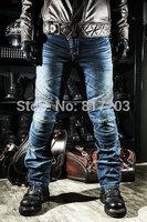 Komine R2 motorcycle jeans drop resistance slim denim automobile race pants motorcycle pants with knee protections Blue color