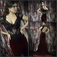 2014 Vestido De Festa Longo 262015 Lace Bead And Mermaid Sexy Evening Dresses Deep V-neck Short Sleeve Prom Dress Gowns With Sl