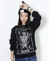 Skull hoodies women cute skull printed fleece sweatshirt female harajuku cool sweatshirts pullover and plus size  Nora10765