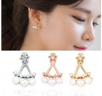 ES837 Hot Fashion 2015 New After the three-pointed star female models pearl earrings hang Wholesale Jewelry Accessories