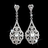 Luxury Flower Silver Clear Crystal Diamante Vintage Style Chandelier Long Drop Dangle Earrings Bridal Wedding Jewelry LE1021
