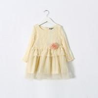New 2015 Boutique girls sweet cute lace dress baby girls long sleeves princess lace dress   6pcs/lot