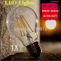 Wholesale! 1X Led Lamp E27 90V-260V 4W 6W 8W Filament Led Bulb E27 360 Degree 900Lm White Warm White Energy Saving Light