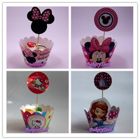 Free Shipping 4 designs Birthday Party Princess Hello Kitty Minnie Mouse Baking Cups Decorating Cupcake Wrappers Cakes Toppers