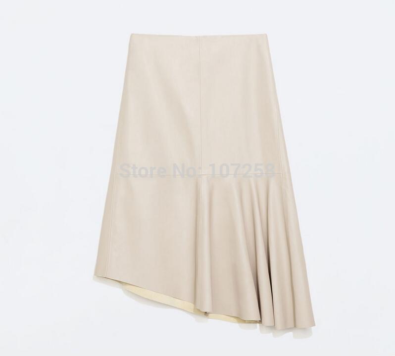 Hoge taille faux leren rok knie lengte geplooide a lijn pu rok wit
